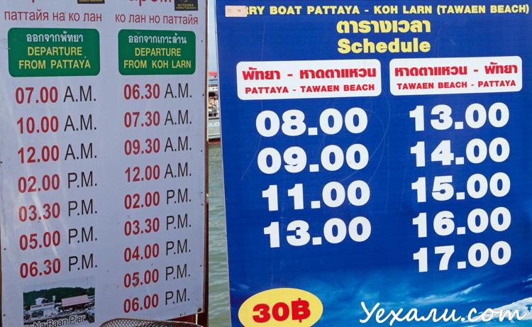 Как добраться до острова Ко Лан из Паттайи: расписание паромов
