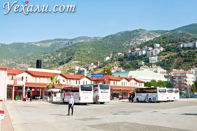 Фото Алании, Турция. Автовокзал на фоне гор.