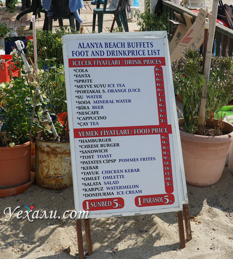 Цены на пляже Клеопатры
