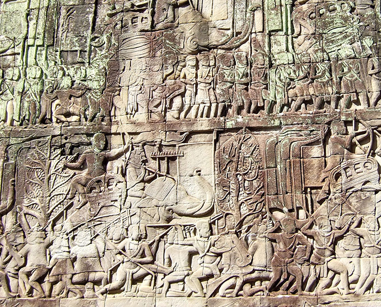 Ангкор Тхом, гравировки на стенах (храмовый комплекс Ангкор Ват в Камбодже).