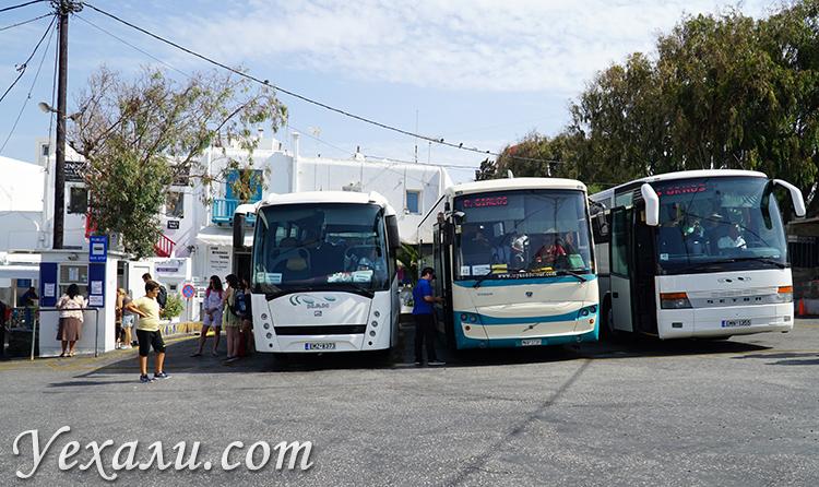 Автобусы на Миконосе на станции