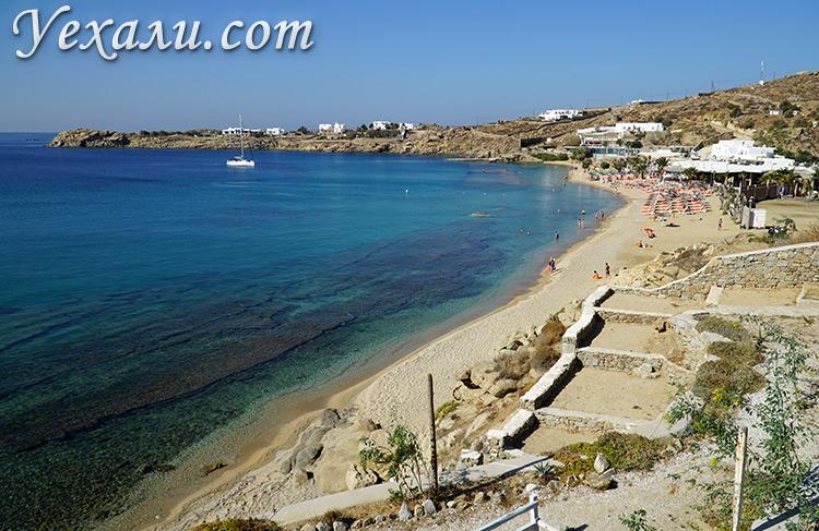 Путеводитель по острову Миконос, Греция: пляж Парадайз Бич.