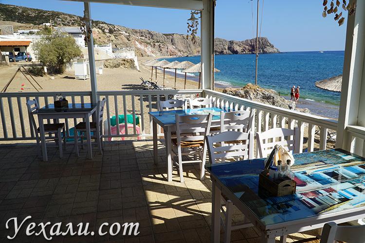Кафе Sirocco на пляже Палиохори