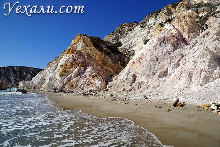 Путеводитель по Милосу (Греция): пляж Фириплака.