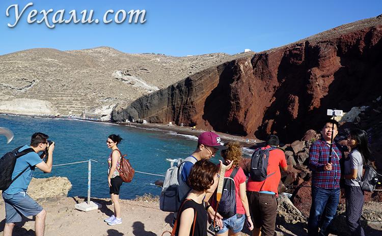 Что посмотреть на Санторини за 2 дня самостоятельно: Красный пляж.