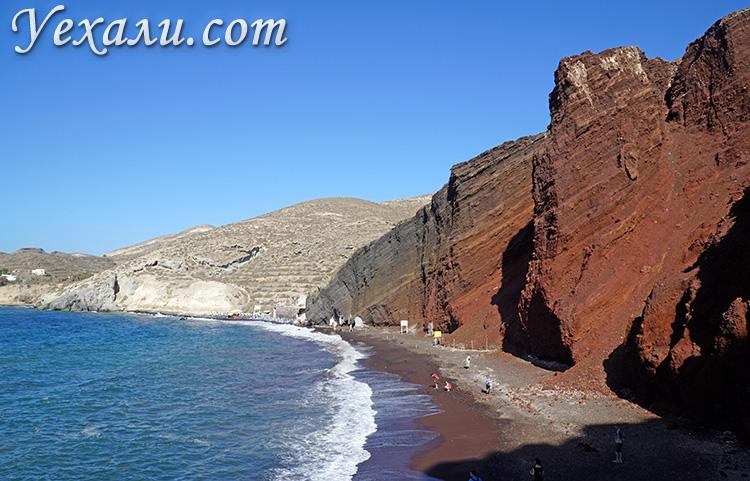 Лучшие фото острова Санторини, Греция: красный пляж Акротири.