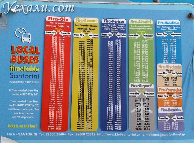 Расписание автобусов на Санторини