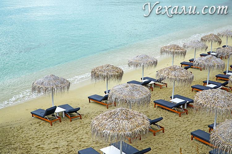 Пляж Плати Гиалос на Миконосе, Греция