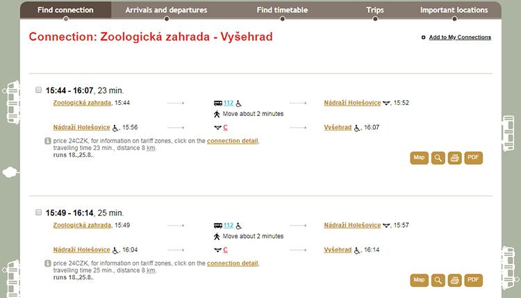 Общественный транспорт в Праге. Расчет маршрута.