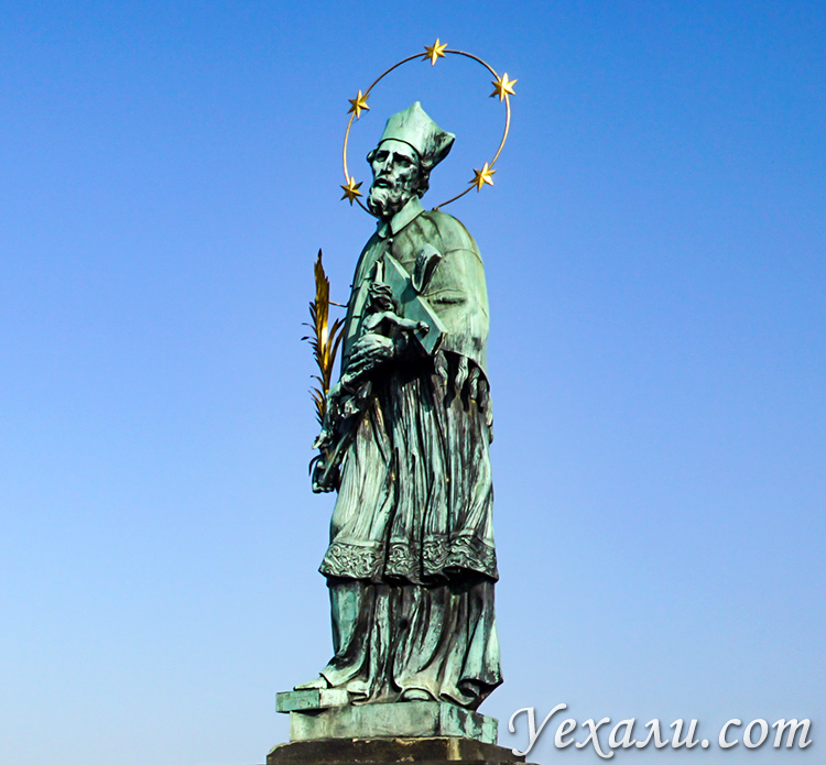 Статуя святого Яна Непомуцкого, Карлов мост, Прага.