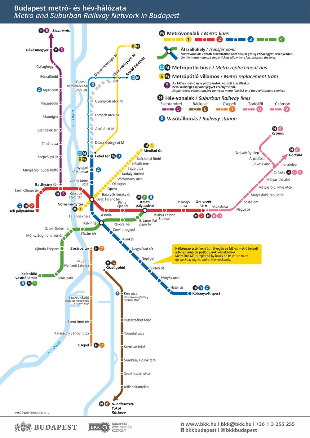 Метро Будапешта. Карта - схема.