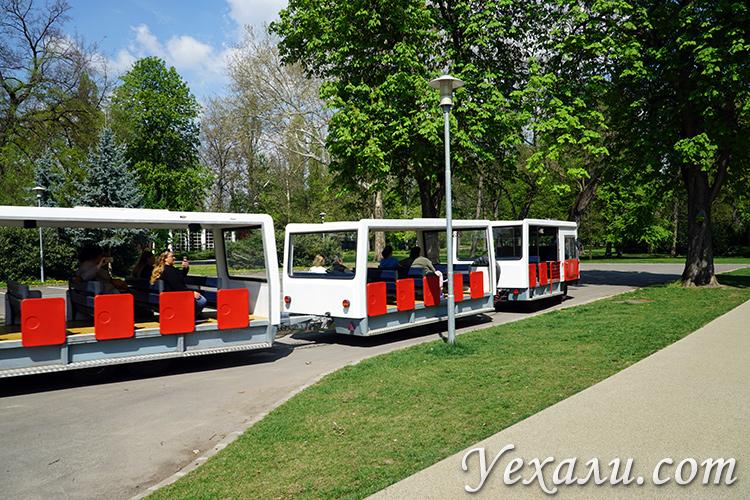Туристический автобус в парке Маргит в Будапеште