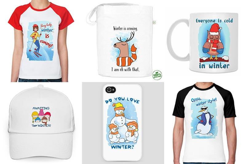 Winter is Coming: футболки, сумки, кружки, бейсболки, чехлы для iPhone с рисунками на зимнюю тему.