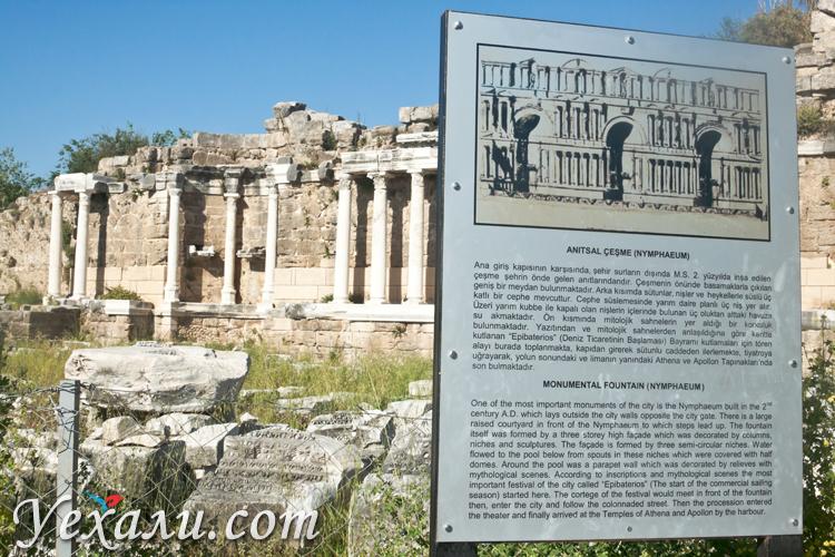 Достопримечательности Сиде: фонтан Нимфеум.