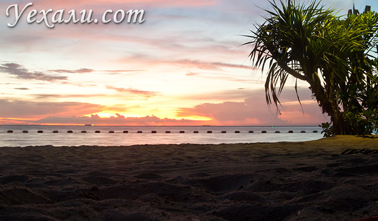 Пляж Вонг Амат, Паттайя, фото заката.