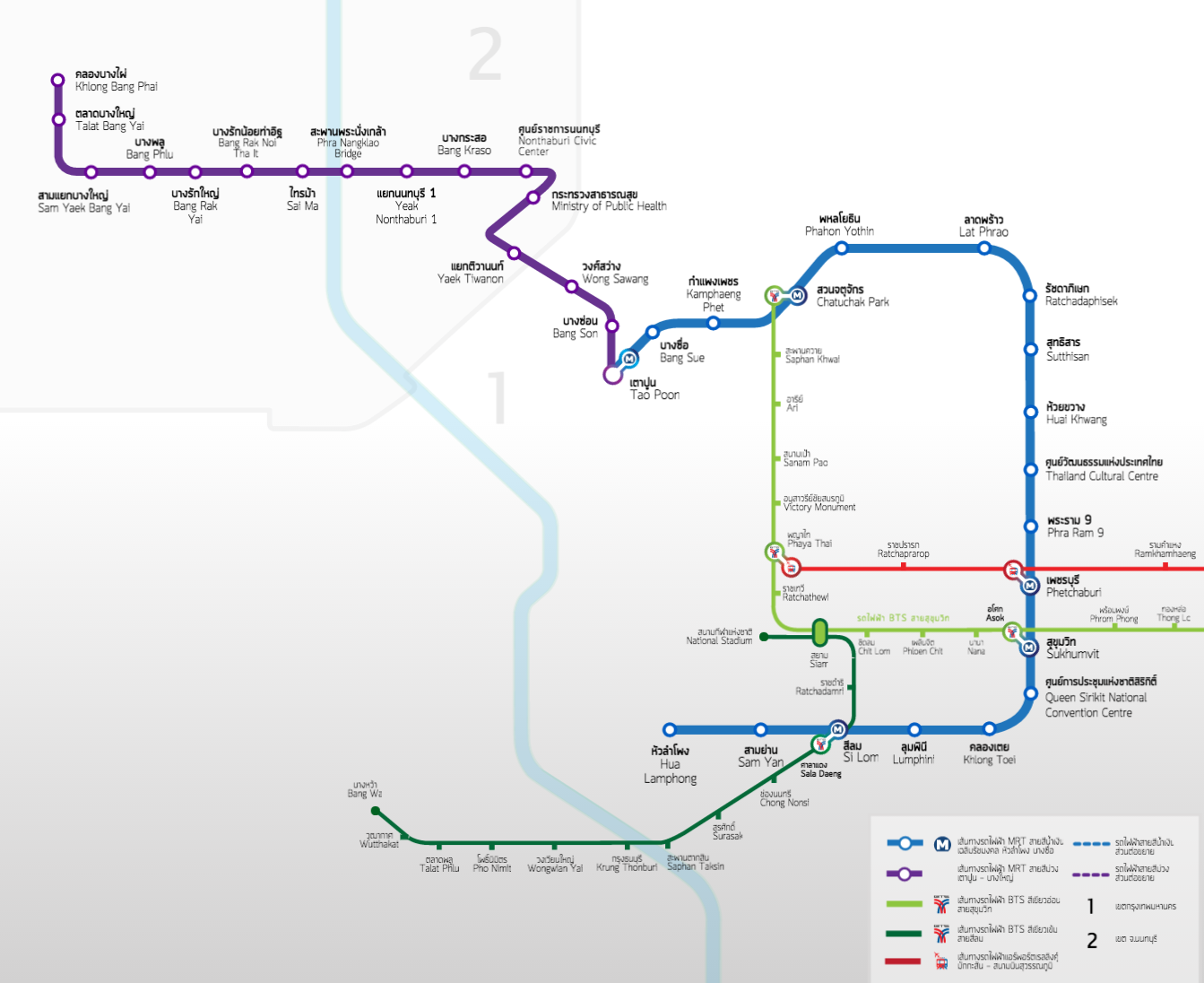 Карта метро Бангкока.
