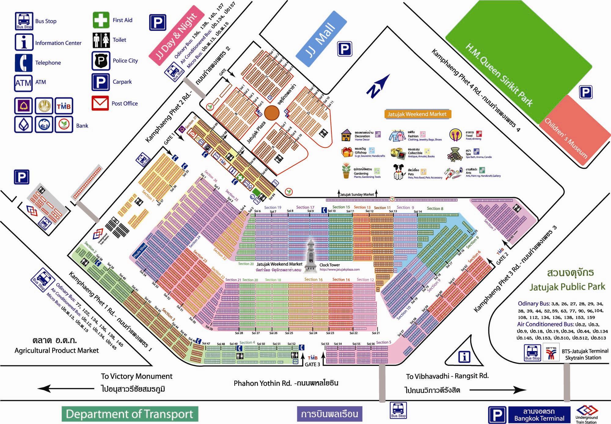 Карта - схема ранка Чатучак в Бангкоке