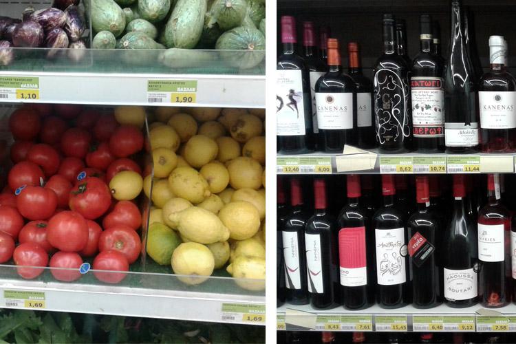 Цены в Афинах на еду и продукты