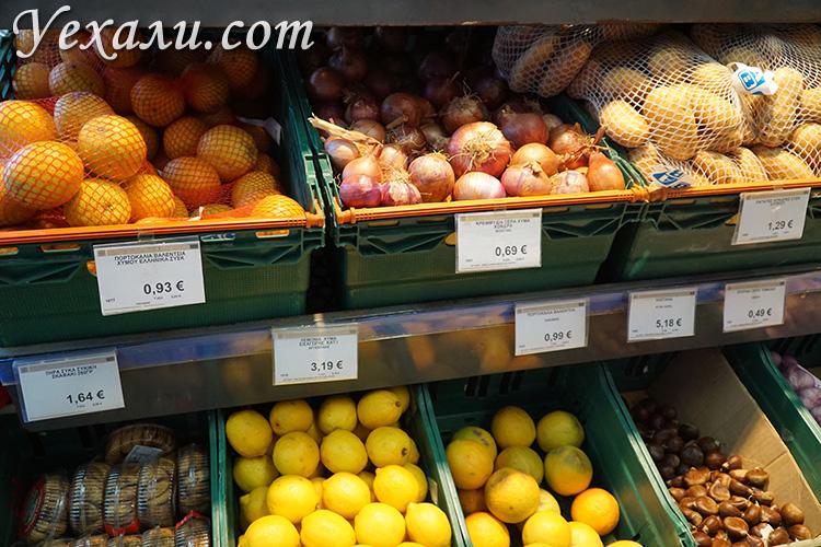 Цены на продукты питания на Миконосе