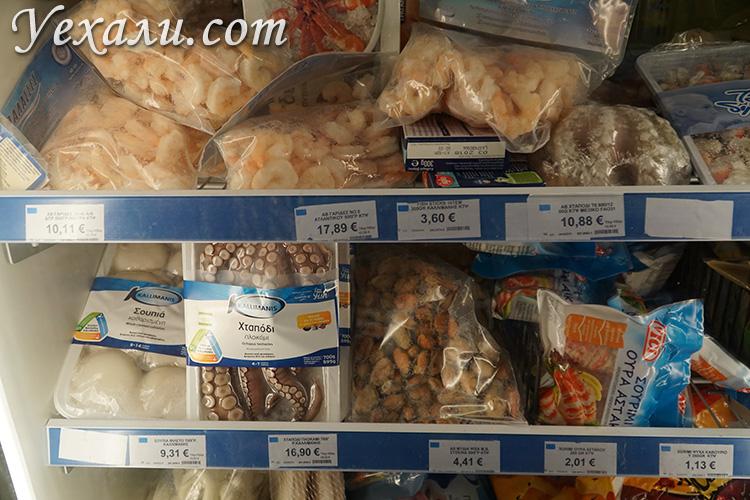 Цены на морепродукты в магазине на Миконосе