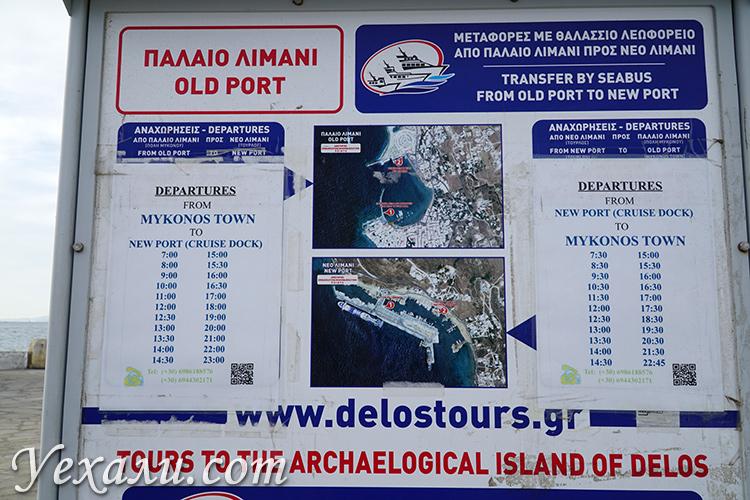 Расписание водных автобусов на Миконосе