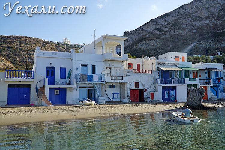 Лучшие фото острова Милос, Греция: рыбацкая деревушка Клима.