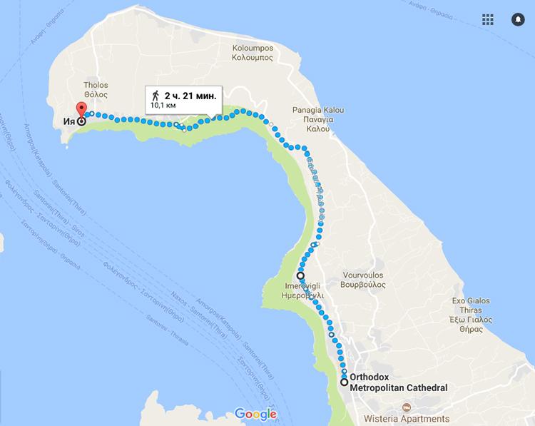 Маршрут пешей прогулки по Санторини на карте