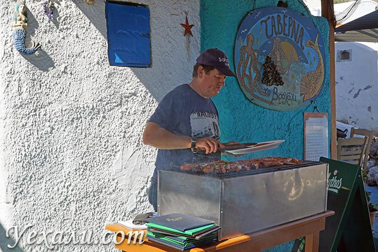 Обед на экскурсии на вулкан на Санторини