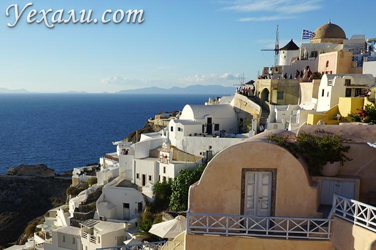 Фото города Оя на Санторини, Греция. Закат.