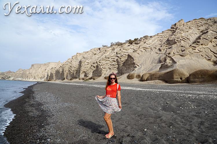 Лучшие пляжи острова Санторини, Греция: черный пляж Влихада.