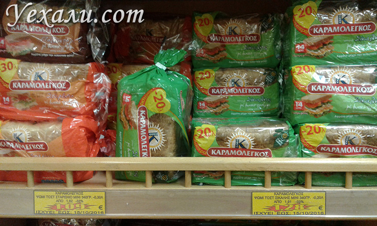 Цены на еду в магазинах Санторини
