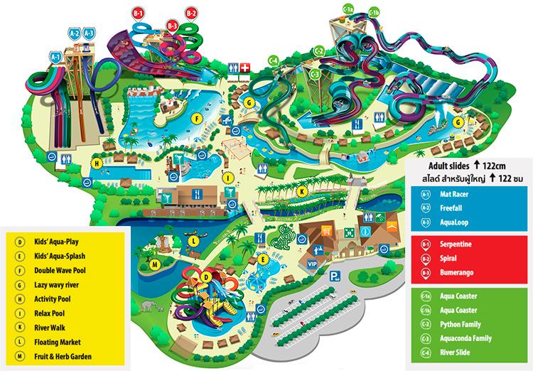 Карта - схема аквапарка аквапарка Рамаяна в Паттайе.