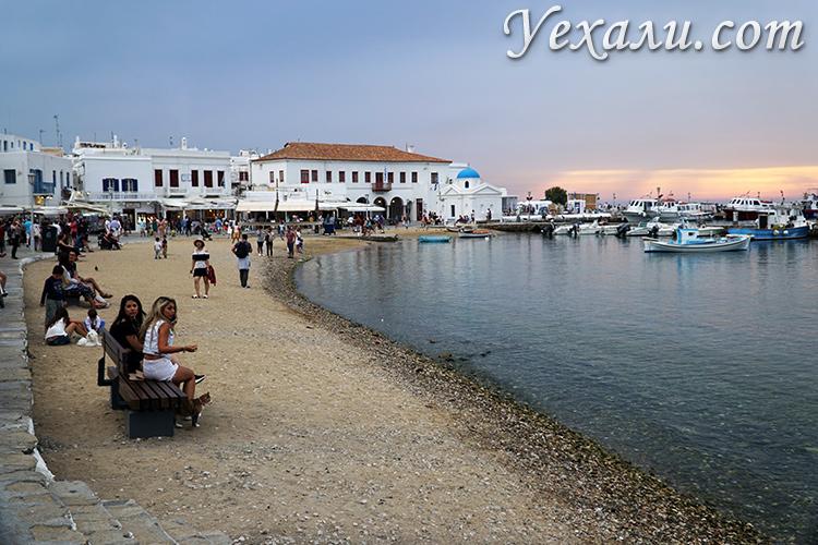 Остров Миконос, Греция. Фото набережной.