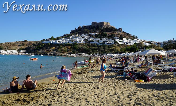 Лучшие пляжи Родоса, Греция. На фото: пляж Линдос.