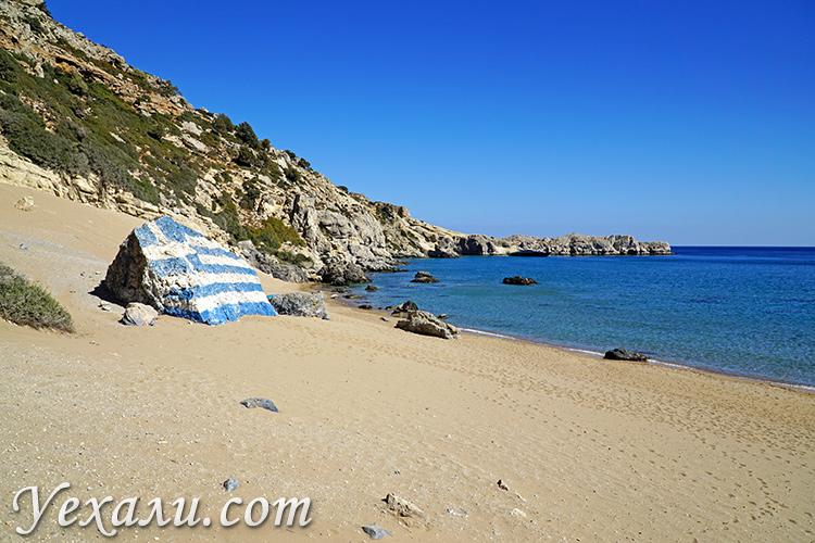 Достопримечательности острова Родос, Греция. На фото: пляж Цамбика.