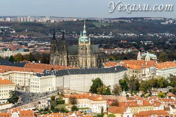 Панорамное фото Праги (Мала Страна, Градчаны и Пражский Град с Собором святого Вита) с Петршинской башни.