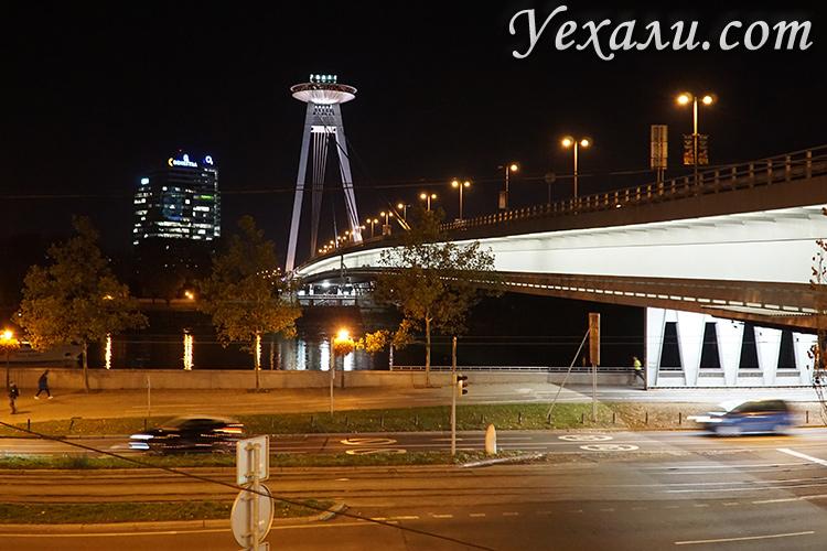 Главные достопримечательности Братиславы, Словакия. На фото: Мост НЛО (Новый мост).