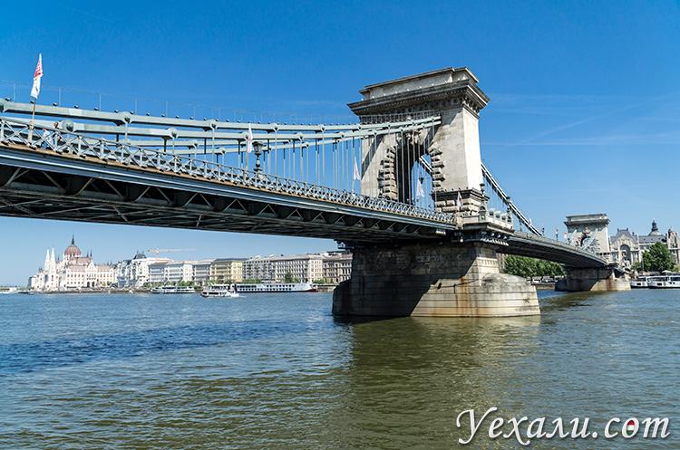 Главные достопримечательности Будапешта на карте. Фото цепного моста Сечени.