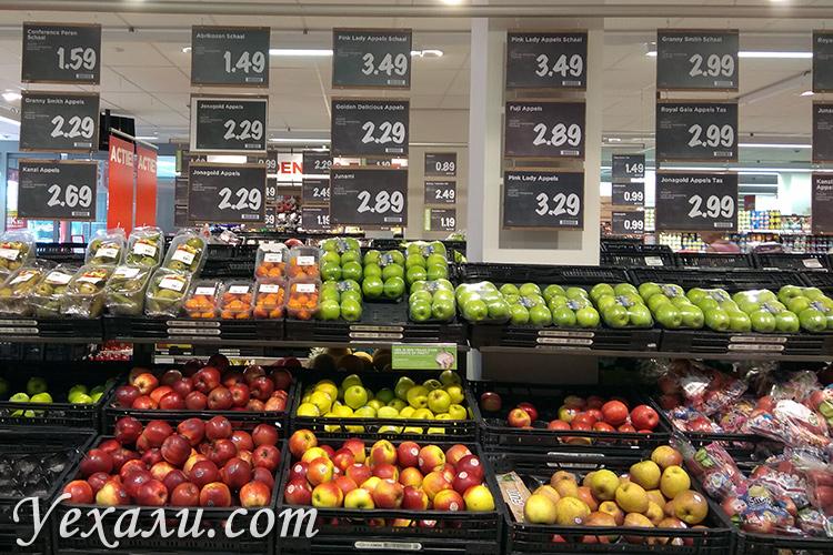 Цены на еду в магазинах Голландии