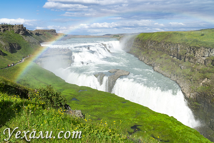 """Маршрут """"Золотое кольцо Исландии"""": водопад Гюдльфосс."""