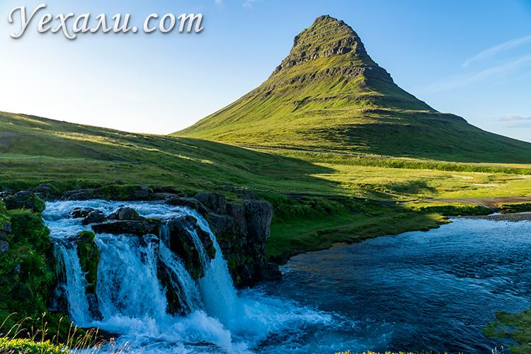 Путеводитель по Исландии. На фото: гора Киркьюфелл и водопад Киркьюфеллсфосс.