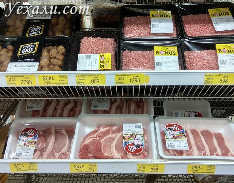 Цены на еду в магазинах Исландии