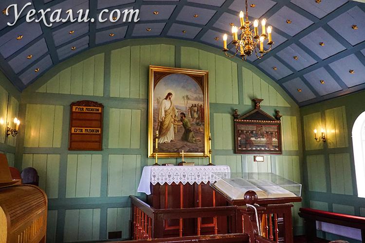 """Церковь в национальном парке Тингведлир. Маршрут """"Золотое кольцо Исландии""""."""