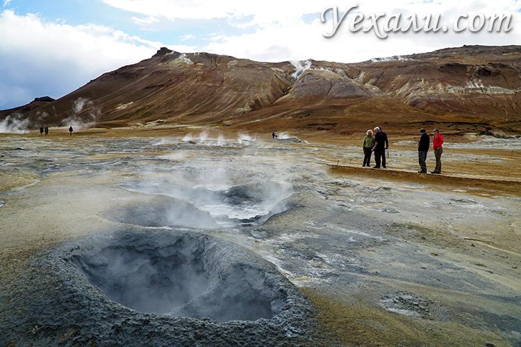 Основные достопримечательности Исландии. На фото: геотермальная зона Хверир.