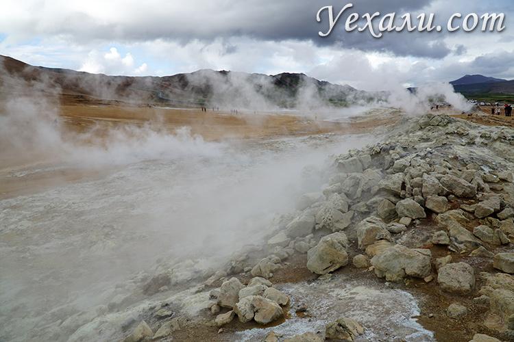Дымящаяся земля в Исландии