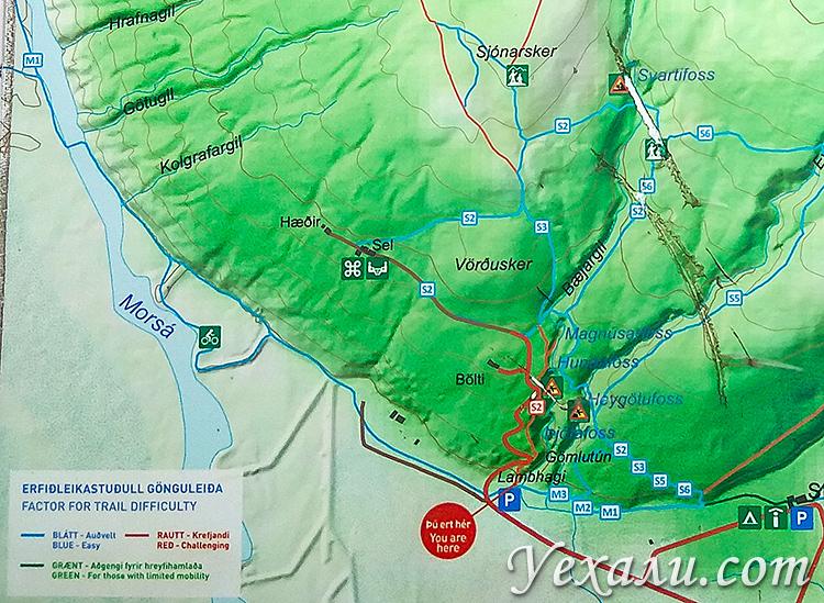 На карте: водопад Свартифосс и национальный парк Скафтафетль, Исландия.