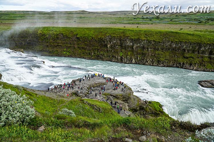 Маршрут Золотое Кольцо Исландии на карте. Золотой водопад Гюдльфосс.