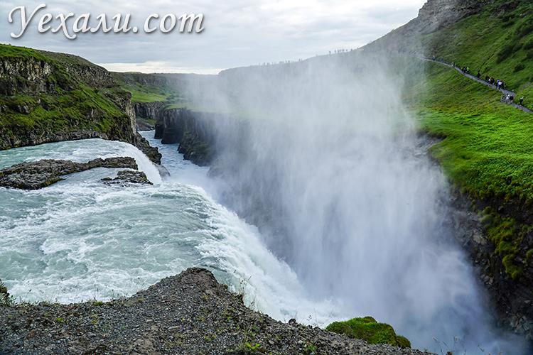 Золотое Кольцо Исландии на автомобиле. Золотой водопад Гюдльфосс.