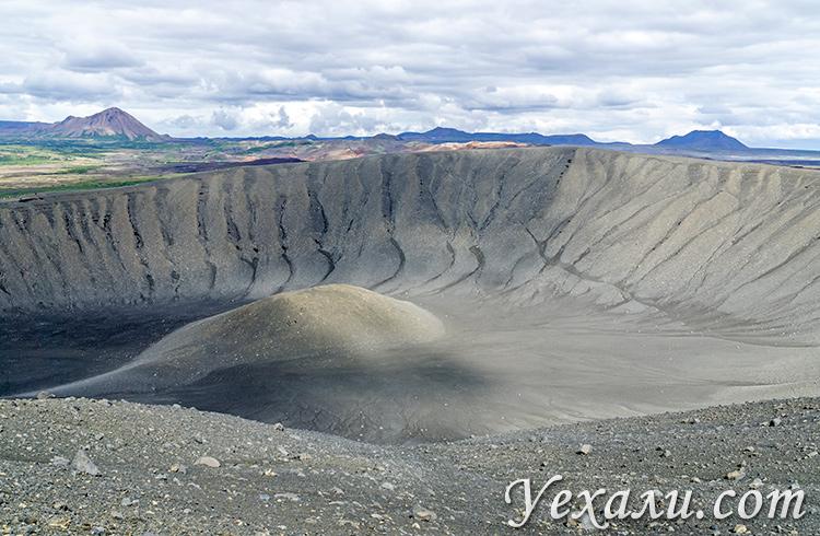 Озеро Миватн в Исландии и его достопримечательности. Кратер Хверфьядль.