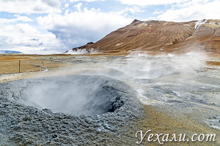 Озеро Миватн в Исландии и его достопримечательности. Геотермальная область Хверир.